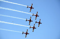 Aircraft. The Australian RAAF Roulettes Aerobatic team were putting on displays in, Geelong Victoria, through out the Australia Day Long Weekend of 26th to the Royalty Free Stock Photo