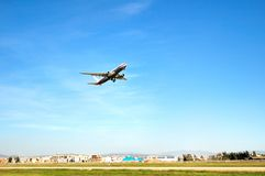 Aircraft. Passenger plane just hopping off in airport the sky Royalty Free Stock Photography