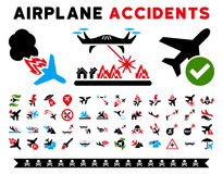 Aircraft Accidents Vector Icons Royalty Free Stock Images