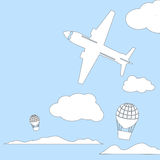 Aircraft and air balloons in the cloudy sky vector illustration with place for text. Royalty Free Stock Photography