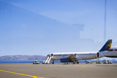 Aircraft Airbus A320, Small Planet airlines, Heraklion Airport N Royalty Free Stock Images