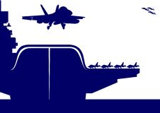 Aircraft and an aircraft carrier. The plane takes off from the deck of an aircraft carrier. The illustration on the military theme Royalty Free Stock Photos