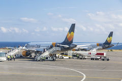 The aircraft of the airline Thomas Cook Airlines Scandinavia landed at the airport of Heraklion named after Nikos Kazantzakis, Cre Royalty Free Stock Photos