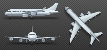 Aircraft, airplane, airliner in different point of view vector set Royalty Free Stock Photos