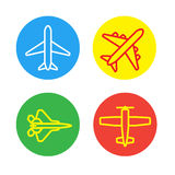 Aircraft or Airplane Flat Minimal Icons Set Collection Vector Silhouette Royalty Free Stock Photography