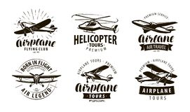 Aircraft, airplane, helicopter logo or icon. Transport label set. Vector illustration stock illustration