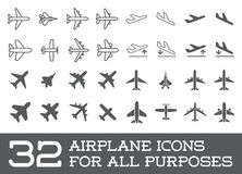 Aircraft or Airplane Icons Set Collection Vector Silhouette Royalty Free Stock Photo