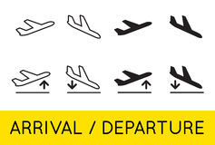 Aircraft or Airplane Icons Set Collection Vector Silhouette Arri Royalty Free Stock Photos