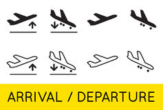 Aircraft or Airplane Icons Set Collection Vector Silhouette Arri Royalty Free Stock Photography
