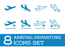 Aircraft or Airplane Icons Set Collection Vector Silhouette Arrivals Departure. Or Airplane Icons Set Collection Vector Silhouette Arrivals Departure Stock Images