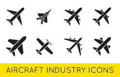 Aircraft or Airplane Icons Set Collection Vector SilhouetteSet. Aircraft or Airplane Icons Set Collection Vector Silhouette Stock Photo