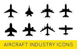 Aircraft or Airplane Icons Set Collection Vector SilhouetteSet. Aircraft or Airplane Icons Set Collection Vector Silhouette Royalty Free Stock Image