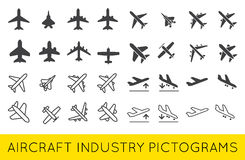 Aircraft or Airplane Icons Set Collection Vector SilhouetteSet. Aircraft or Airplane Icons Set Collection Vector Silhouette Set Colletion stock illustration