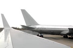 Aircraft airplane landed wing perspective Royalty Free Stock Photo