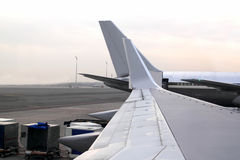 Aircraft airplane landed wing perspective Royalty Free Stock Photography