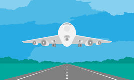 Aircraft or airplane landing or takeoff on runway in daytime illustration on blue sky. And cloud background, with copy space Royalty Free Stock Photography