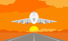 Aircraft or airplane landing or takeoff on runway in surise, sunset time illustration on orange sky Stock Photography