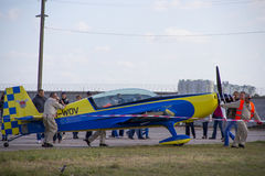 Aircraft airplane private small airport Stock Photography
