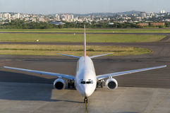 Aircraft in the airport. Waiting passengers stock photography