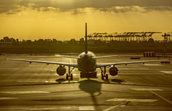 Aircraft in the airport of Barcelona Royalty Free Stock Image