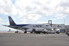 Aircraft at the airport of La Paz. LA PAZ, BOLIVIA - SEPTEMBER 5, 2010:The actual capital of Bolivia, where most of the state institutions and the residence of Royalty Free Stock Photo