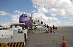 Aircraft at the airport of La Paz. LA PAZ, BOLIVIA - SEPTEMBER 5, 2010:The actual capital of Bolivia, where most of the state institutions and the residence of Stock Photography
