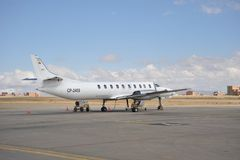 Aircraft at the airport of La Paz. Stock Image
