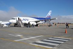 Aircraft at the airport of La Paz. LA PAZ, BOLIVIA - SEPTEMBER 3, 2010:The actual capital of Bolivia, where most of the state institutions and the residence of Stock Photos