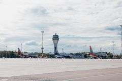 Aircraft at the airport. Aircraft parking. Russia, St. Petersburg, Pulkovo, official spotting on August 15, 2018 royalty free stock photo