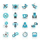 Aircraft, airport and Plane Icons Stock Images