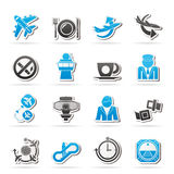 Aircraft,  airport and Plane Icons Royalty Free Stock Photography