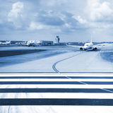 Aircraft on the airport runway Stock Photography