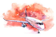Aircraft is at the airport on the take-off field watercolor. stock illustration