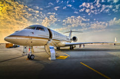 Aircraft - Airshow. The Bombardier Global Express is an ultra long range corporate and VIP high speed jet aircraft Royalty Free Stock Photos