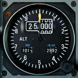 Aircraft altimeter. Analog aircraft altimeter indicating a cruise altitude of 25000 feet Stock Images