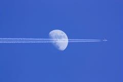 Aircraft And The Moon Stock Photos
