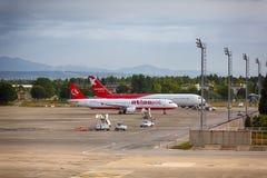 Aircraft. Antalya, Turkey, May 05 2014: Passenger aircraft ready to take off from the airport of Antalya at morning time stock image