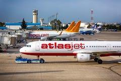 Aircraft. Antalya, Turkey, May 05 2014: Passenger aircraft ready to take off from the airport of Antalya at morning time royalty free stock image