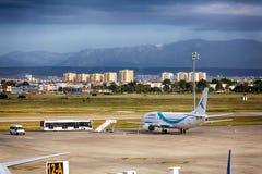 Aircraft. Antalya, Turkey, May 05 2014: Passenger aircraft ready to take off from the airport of Antalya at morning time royalty free stock photo