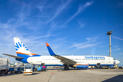 Aircraft on apron after landing. FRANKFURT, GERMANY - AUGUST 22: Sunexpress D-ASNE on apron after landing on August 22, 2012 in Frankfurt, Germany. SunExpress Royalty Free Stock Photography