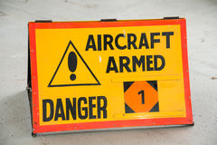 Aircraft Armed sign Stock Photography