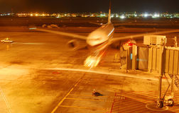 Aircraft arriving at the gate. An airplane coming into a gate at Bahrain international airport stock photo