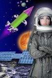 Aircraft  astronaut spaceship helmet woman fashion. Astronaut spaceship aircraft helmet fashion woman space planets rocket Royalty Free Stock Photo