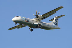 The aircraft ATR 72-500 (OH-ATN) company Flybe Nordic before landing at the airport Pulkovo Stock Photography