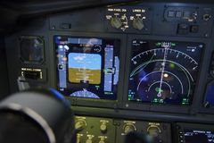 Aircraft attitude indicator display panel and navigation display.  stock images