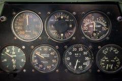 Aircraft aviation gauges of an old aircraft closeup. Royalty Free Stock Photos