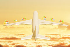 Aircraft with balloons Stock Images