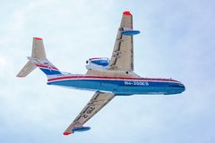 Aircraft Be-200es in flight, aft view royalty free stock photos