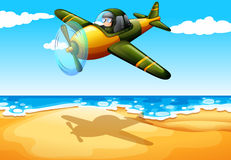 An aircraft at the beach. Illustration of an aircraft at the beach Royalty Free Stock Photo
