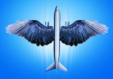 Aircraft with bird wings. Illustration of ideas aircraft with wings of a bird Royalty Free Stock Images